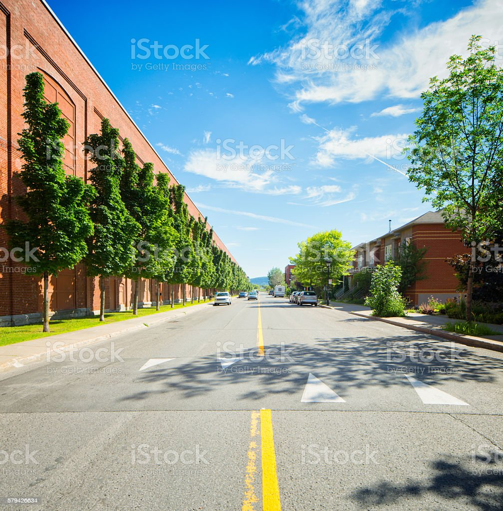 Speed bump in Montreal Rosemont residential area stock photo