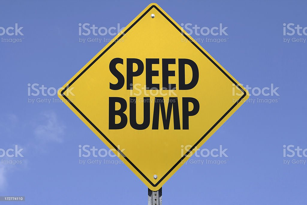 Speed Bump Sign stock photo