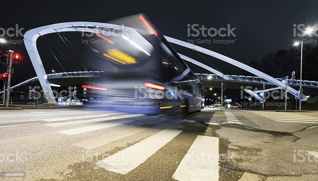 Speed  bus on a modern bridge. Helsinki stock photo