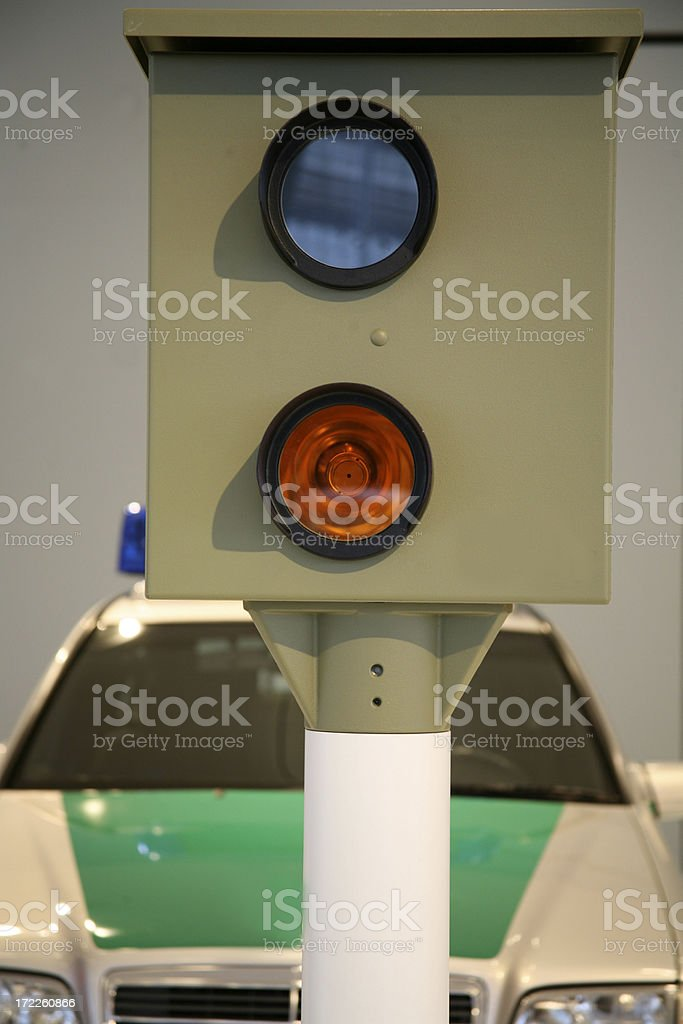 speed camera and police car royalty-free stock photo