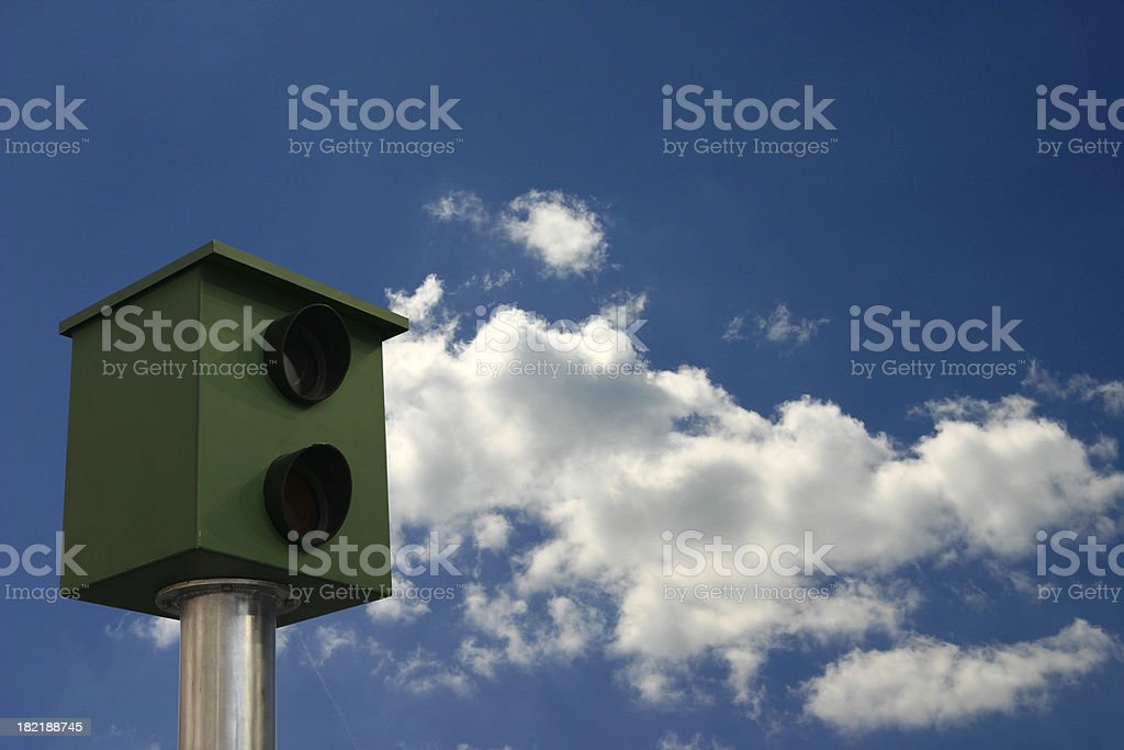 Speed camera in summer sky stock photo