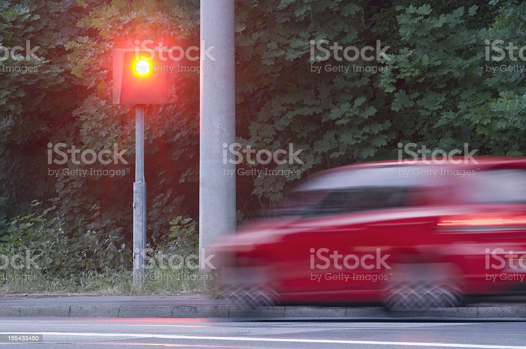 Speed camera photographed a to speedy car stock photo