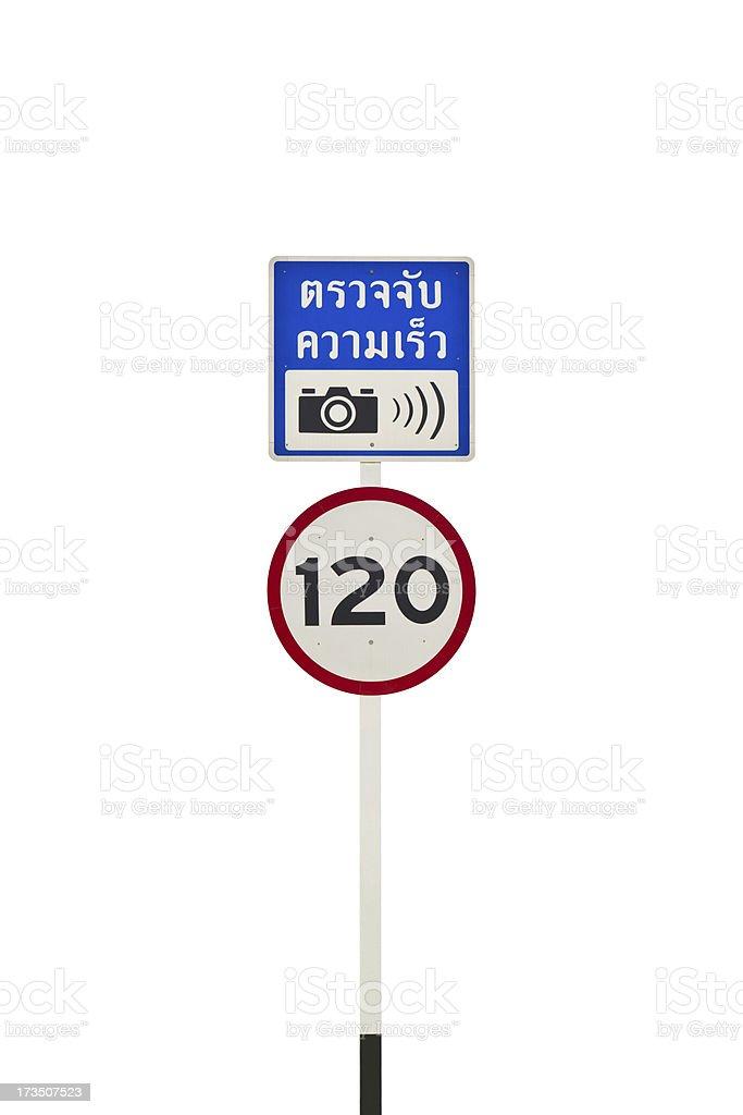 Speed camera signpost royalty-free stock photo