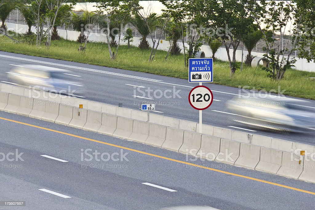 Speed camera signpost royalty-free stock photo