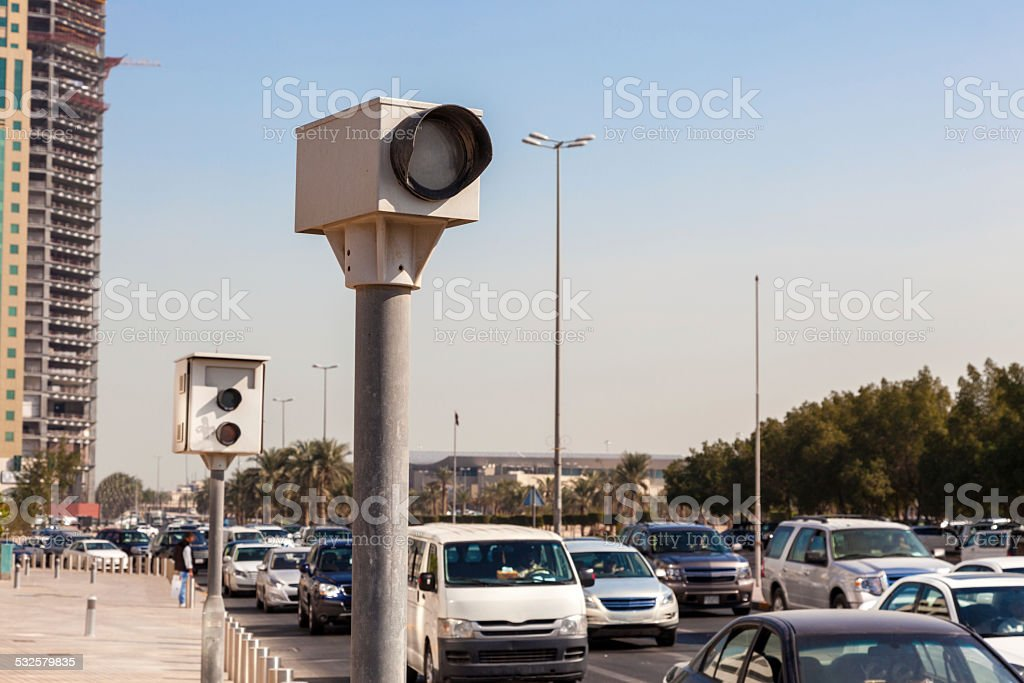 Speed cameras in the city stock photo