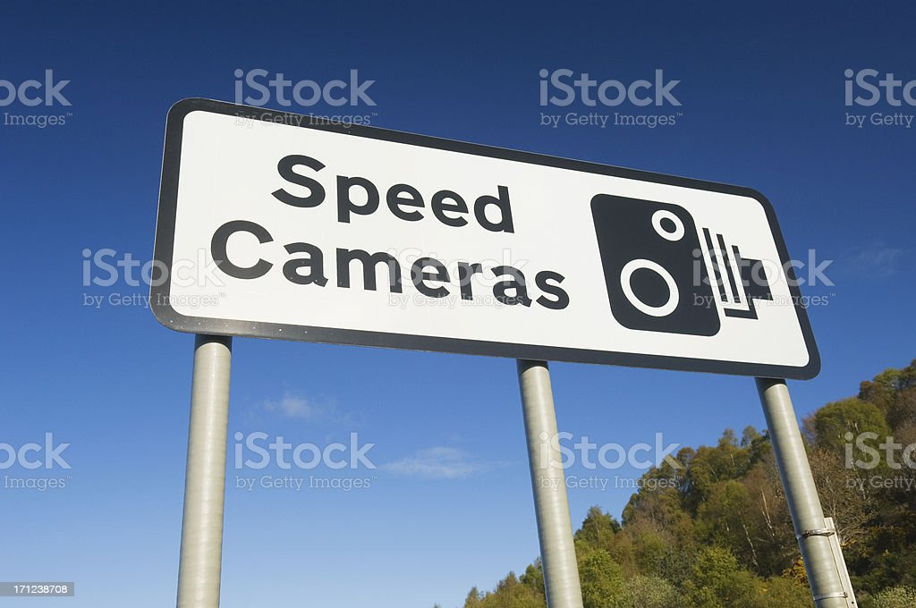 Speed cameras sign stock photo
