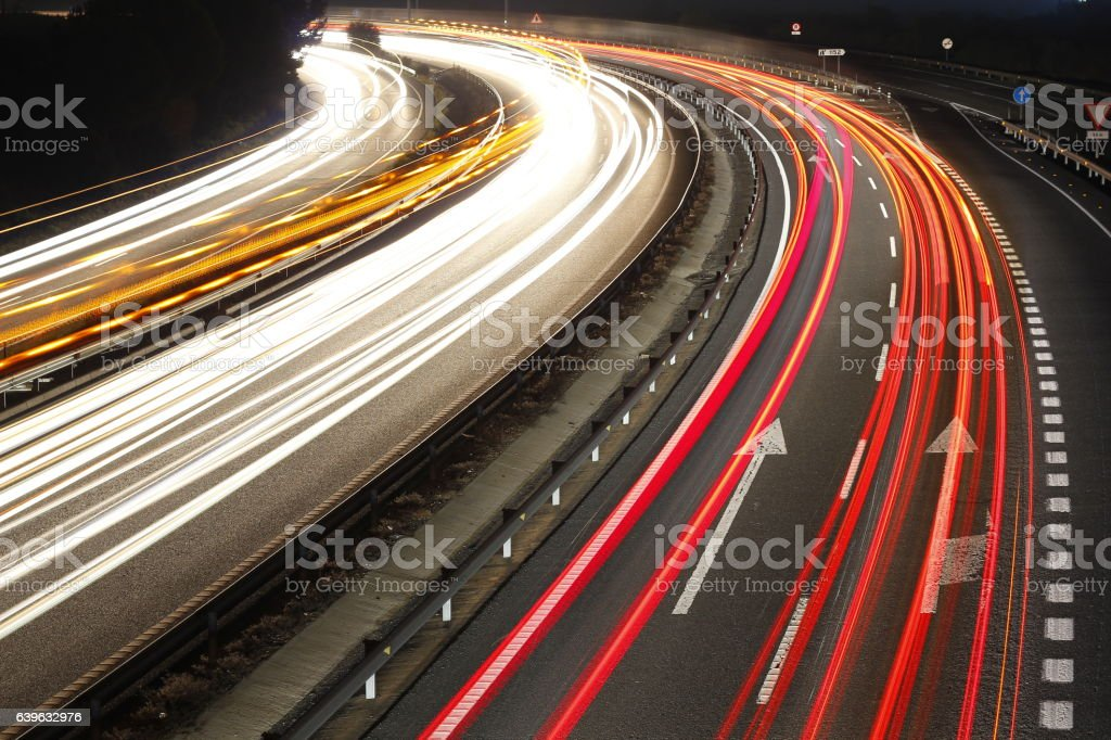 Speed cars at night stock photo