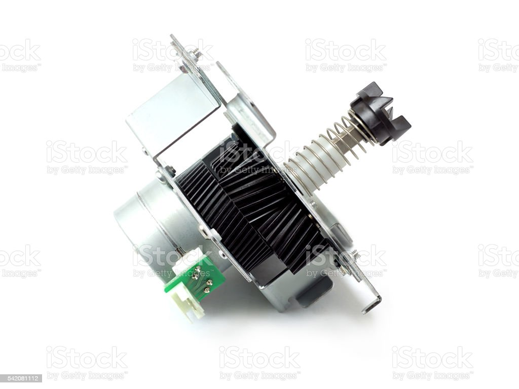Speed control motor with gear spring and bracket stock photo