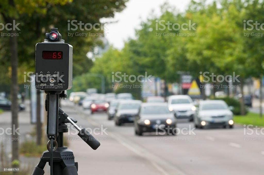 Speed control with a laser ally stock photo