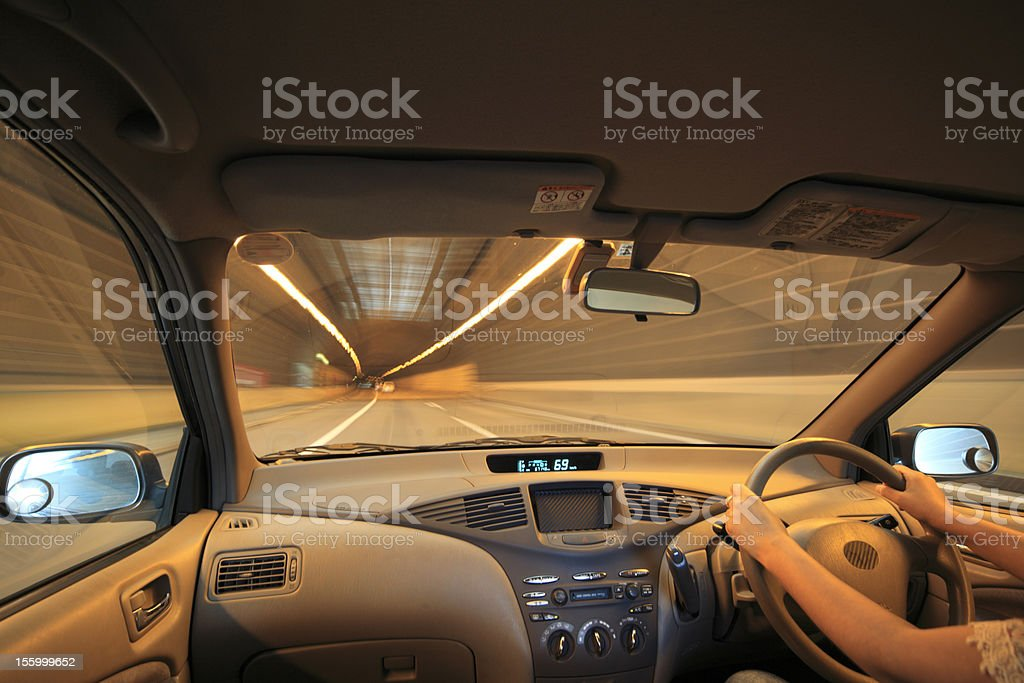 Speed drive from car view. royalty-free stock photo