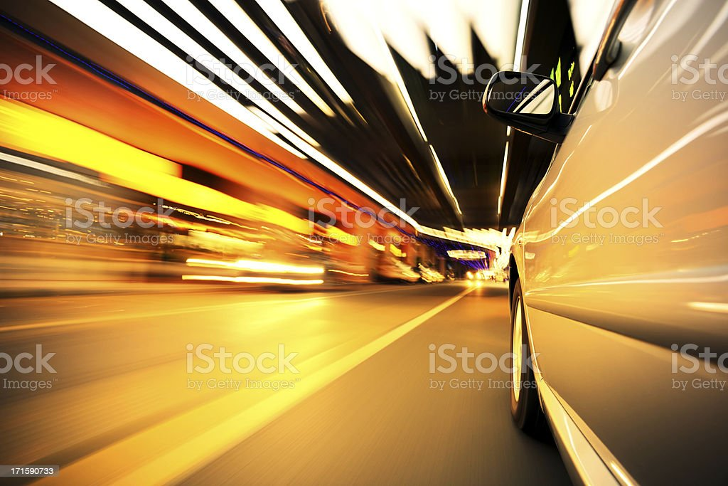 Speed driving at city street royalty-free stock photo