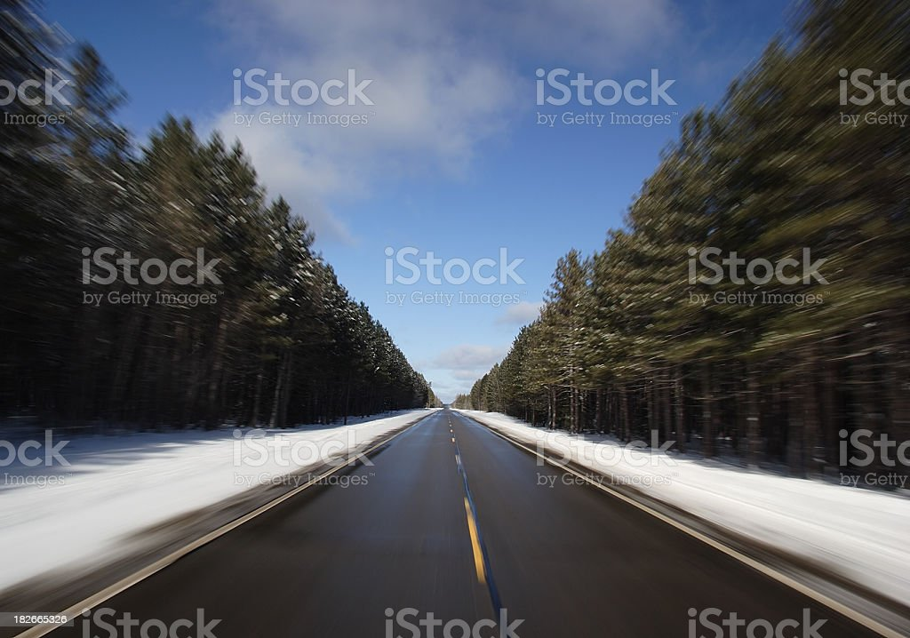 Speed: Driving Straight Road Through A Forest royalty-free stock photo
