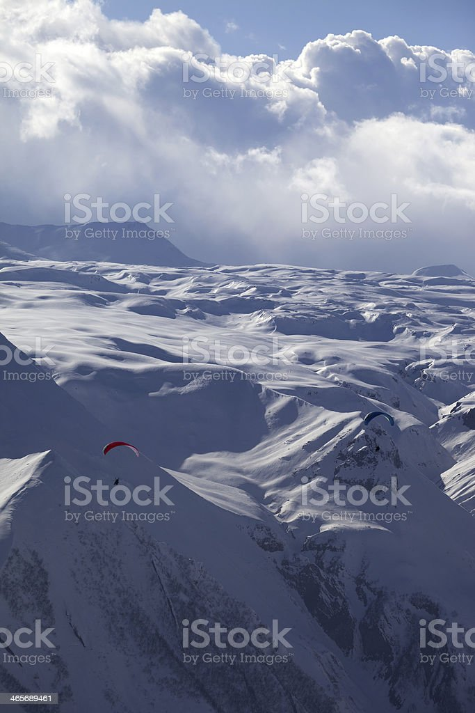 Speed flying in snow mountains royalty-free stock photo