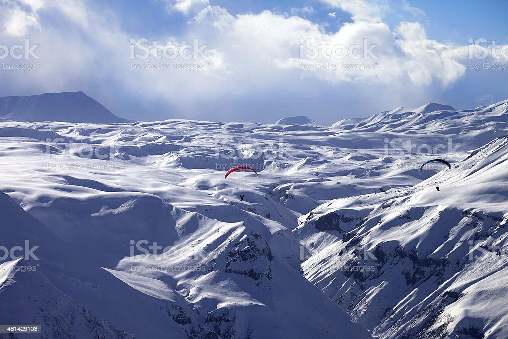 Speed flying in winter mountains royalty-free stock photo