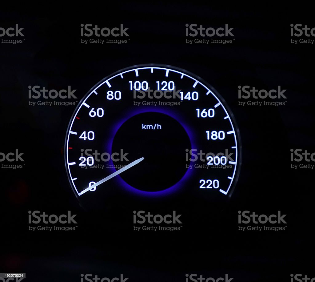 Speed gauge stock photo