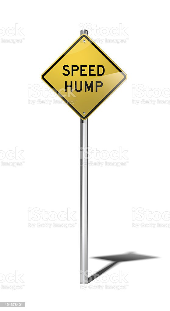 Speed hump warning sign (USA) with clipping path stock photo