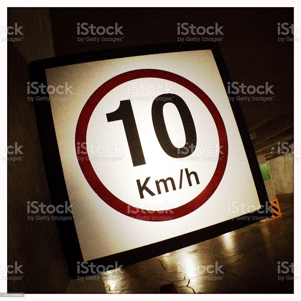 Speed limit 10 kph sign stock photo