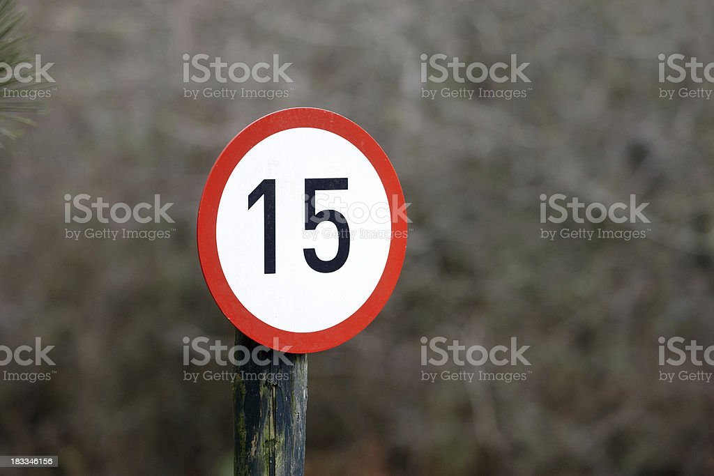 Speed limit 15 royalty-free stock photo