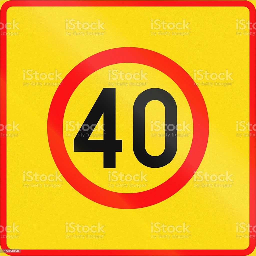 Speed Limit 40 Zone in Finland stock photo
