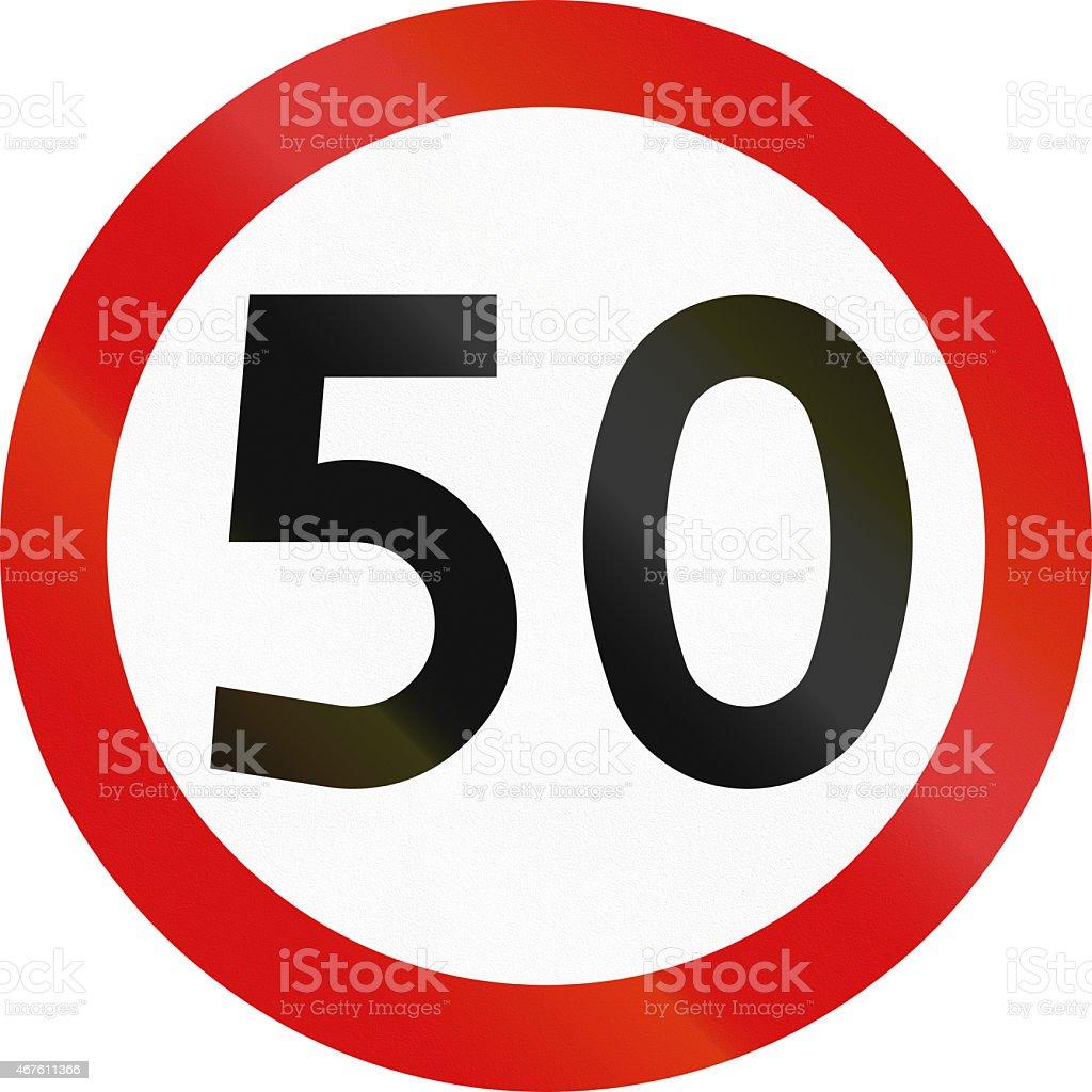 Speed Limit 50 in Poland stock photo
