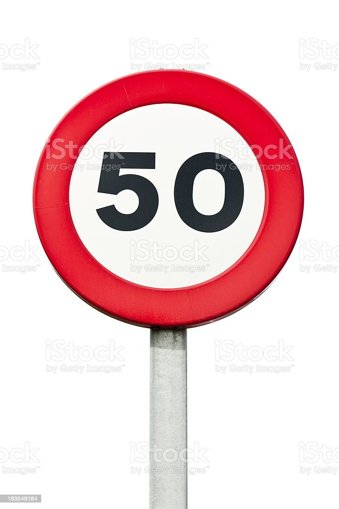 Speed limit 50 km/h: roadsign royalty-free stock photo