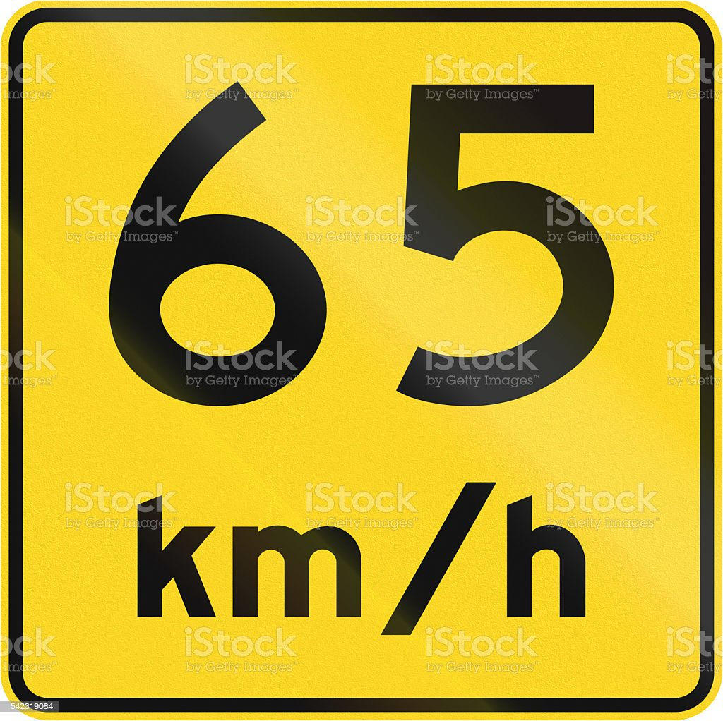 Speed Limit 65 Kmh In Canada stock photo