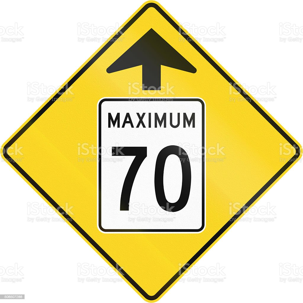 Speed Limit 70 Ahead in Canada stock photo