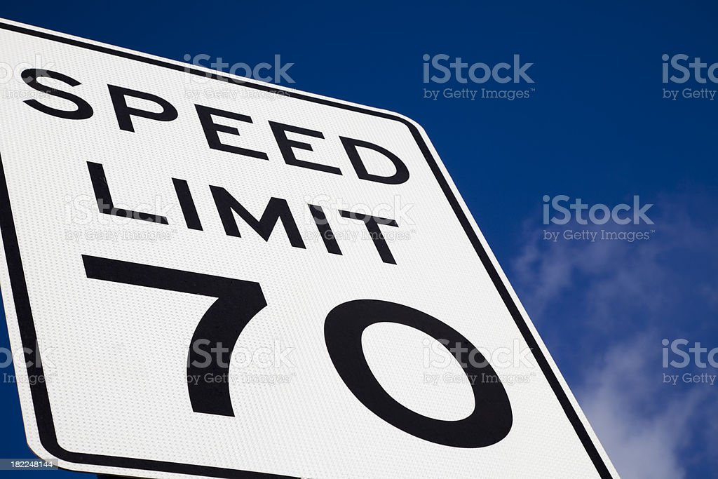 speed limit 70 highway sign blue sky copy space stock photo
