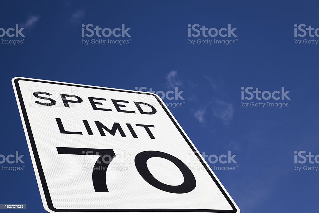 speed limit 70 sign and west texas sky stock photo