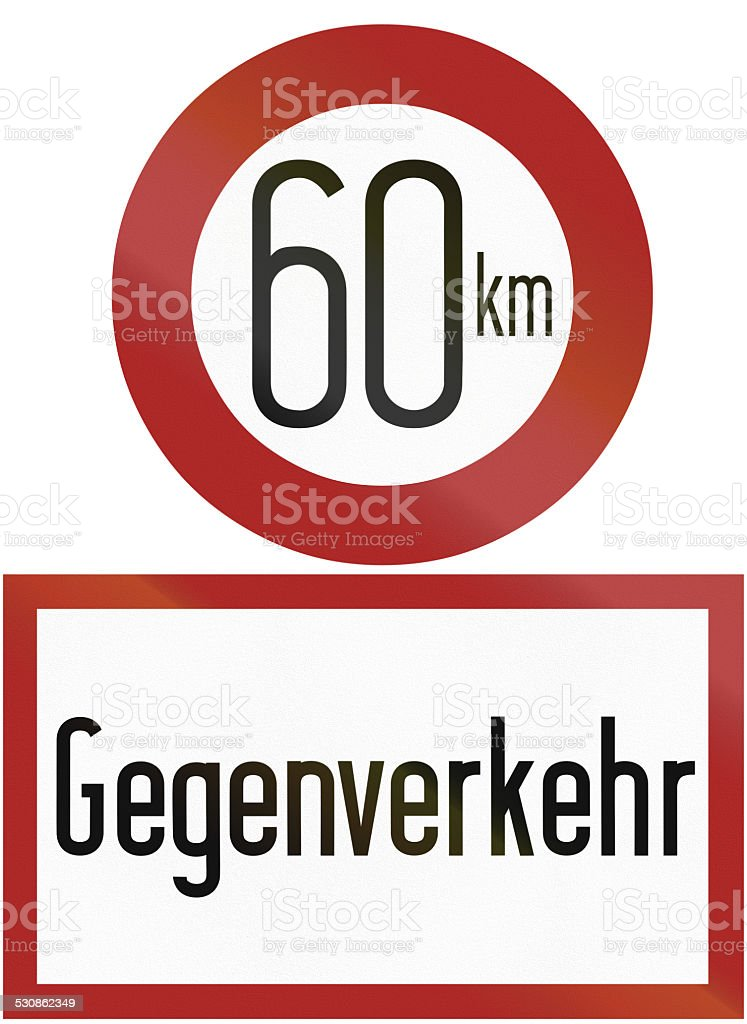 Speed Limit And Oncoming Traffic stock photo