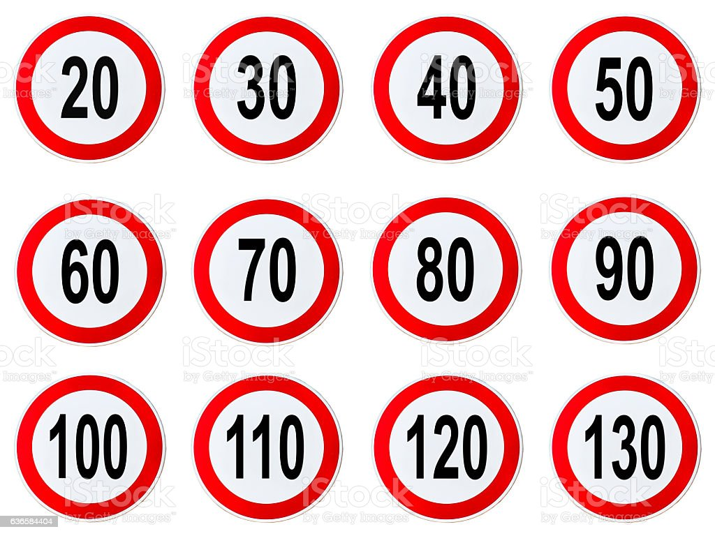 Speed Limit Sign -Circle speed limit signs with red border stock photo