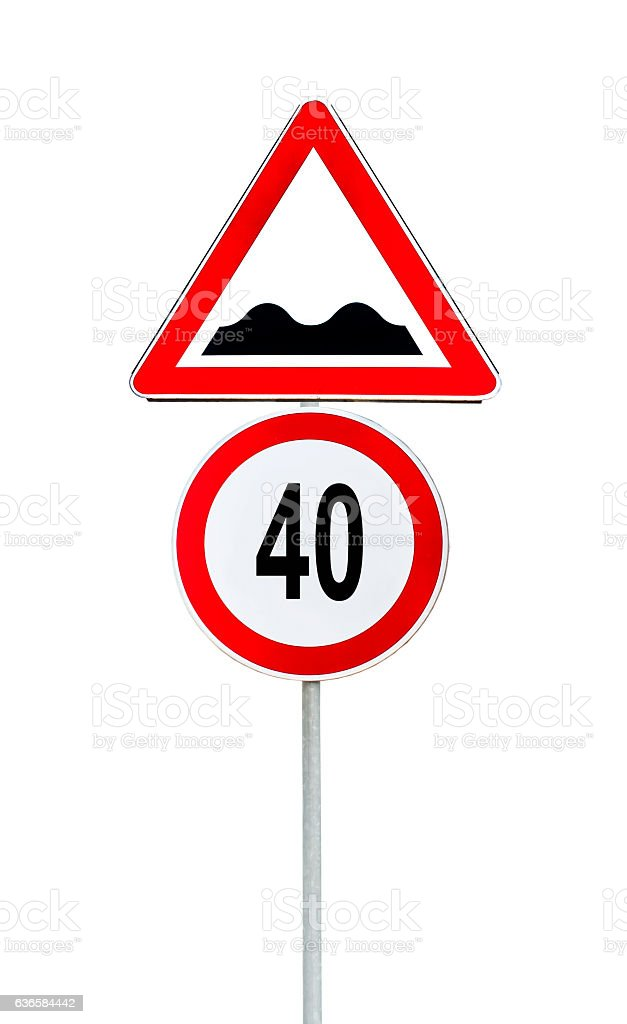 Speed limit sign determining the speed limit 40 stock photo