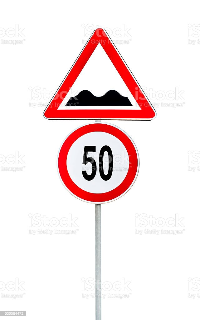 Speed limit sign determining the speed limit 50 stock photo