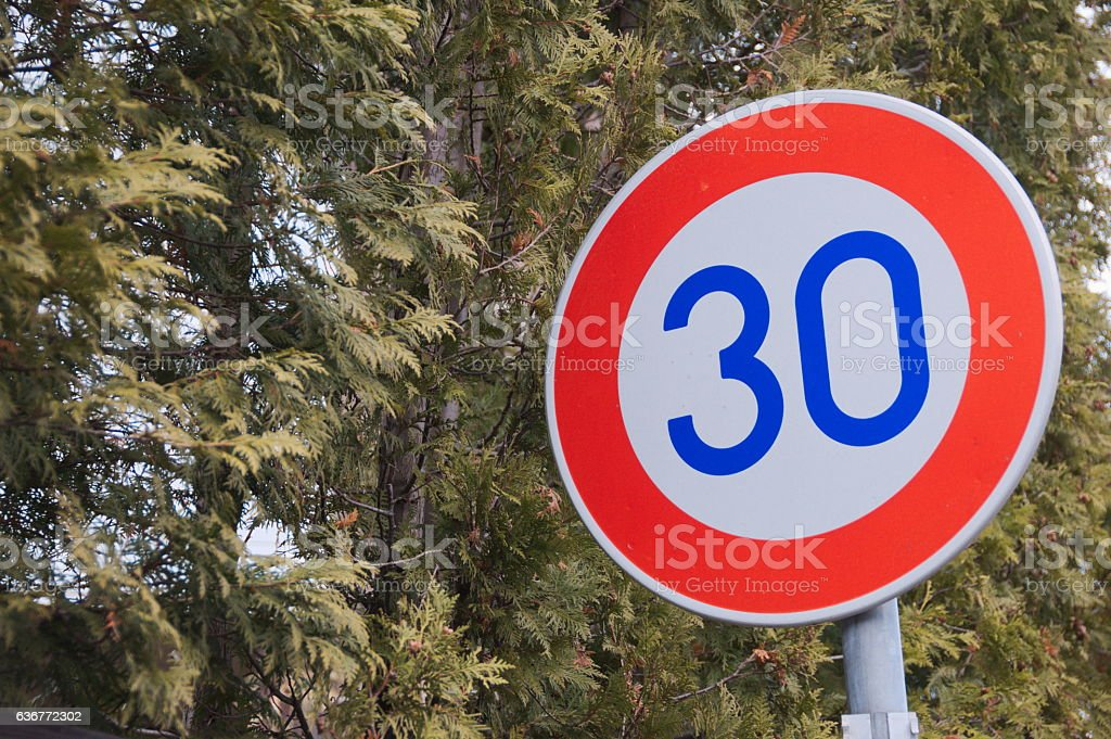 Speed limit sign in Japan stock photo