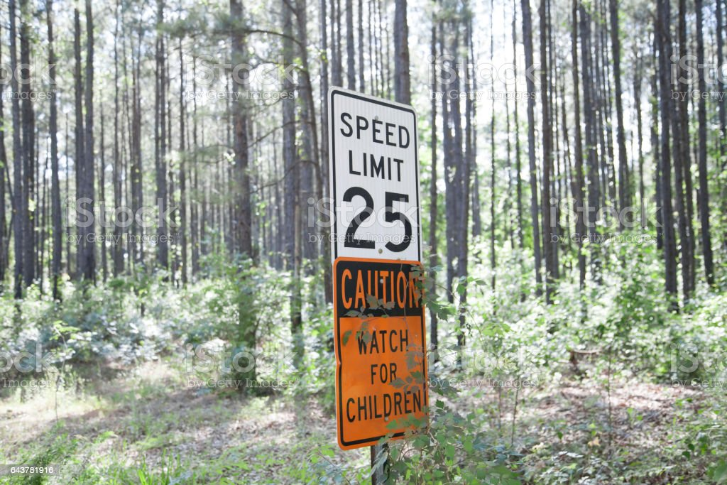 Speed Limit Sign in the Woods stock photo