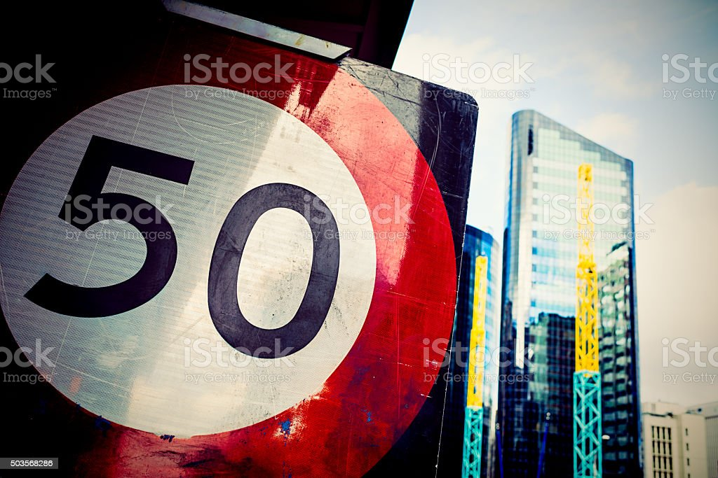 Speed limit sign in Wellington, New Zealand stock photo