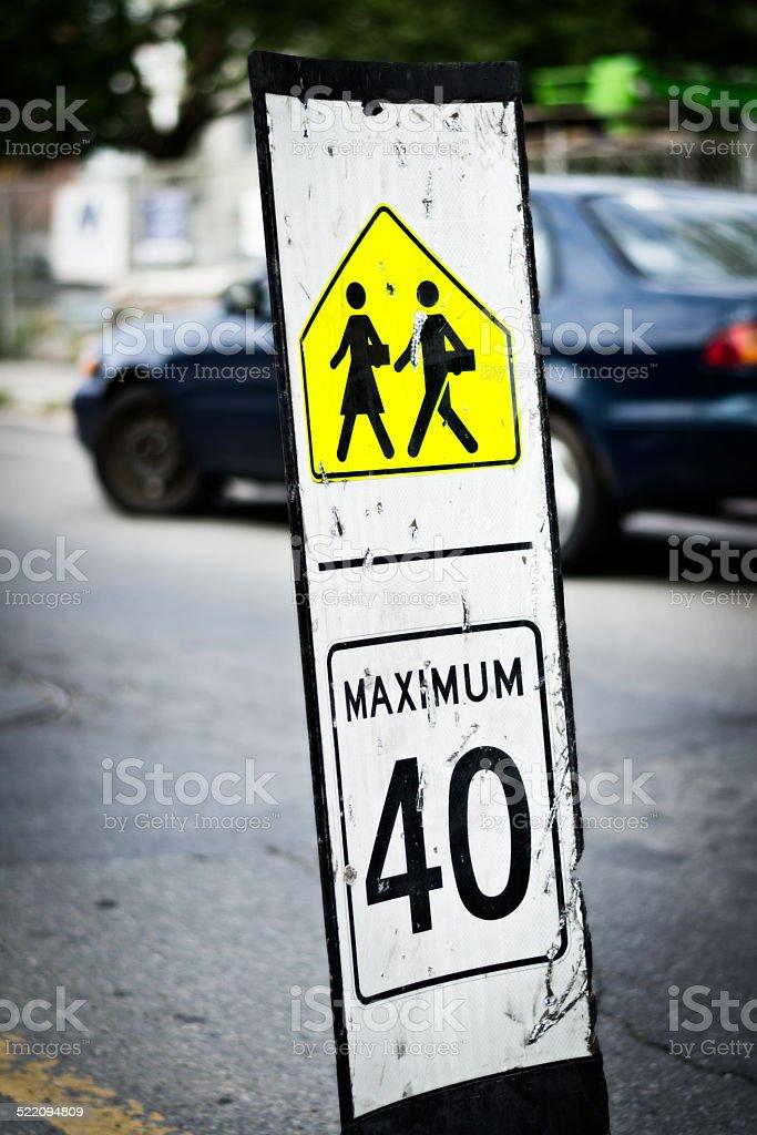 Speed limit sign near school passage stock photo