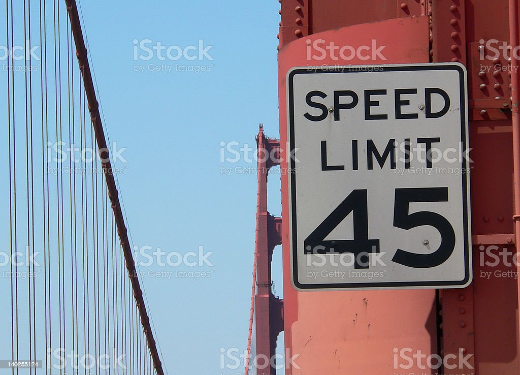 speed limit sign on golden gate bridge royalty-free stock photo