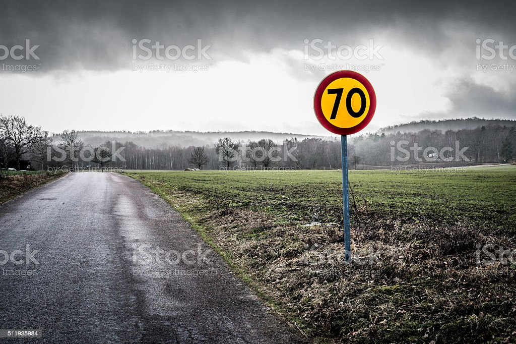 Speed limit sign on the Swedish countryside stock photo