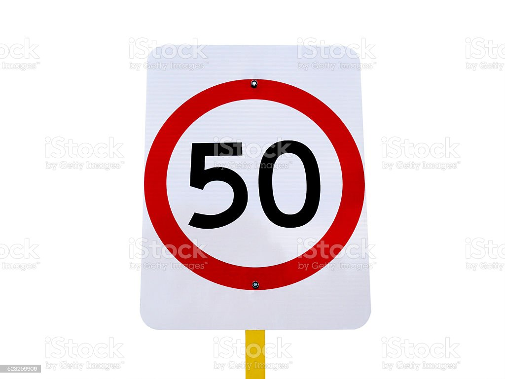 50 speed limit sign (with clipping path) stock photo