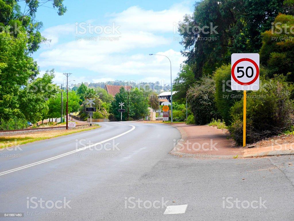 50 Speed limit sign stock photo