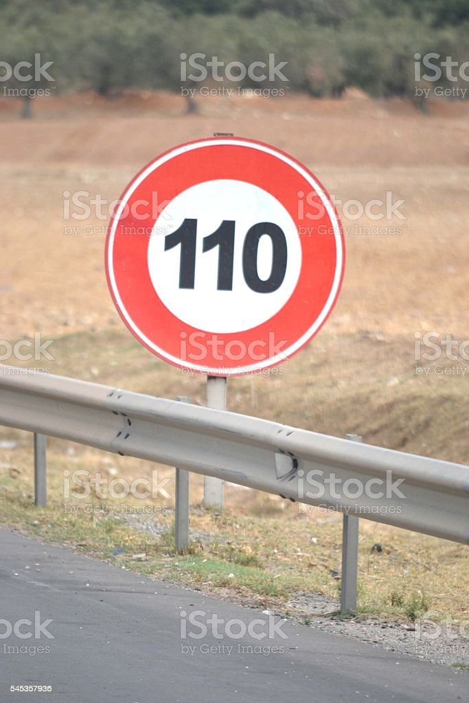 Speed limit sign stock photo