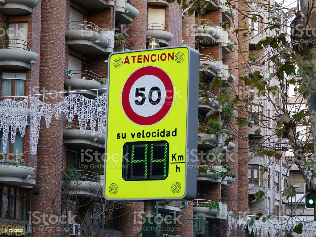 Speed limit sign stock photo