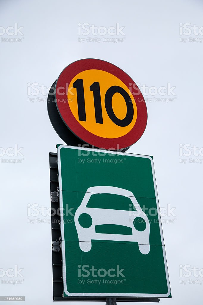 Speed limit sweden stock photo