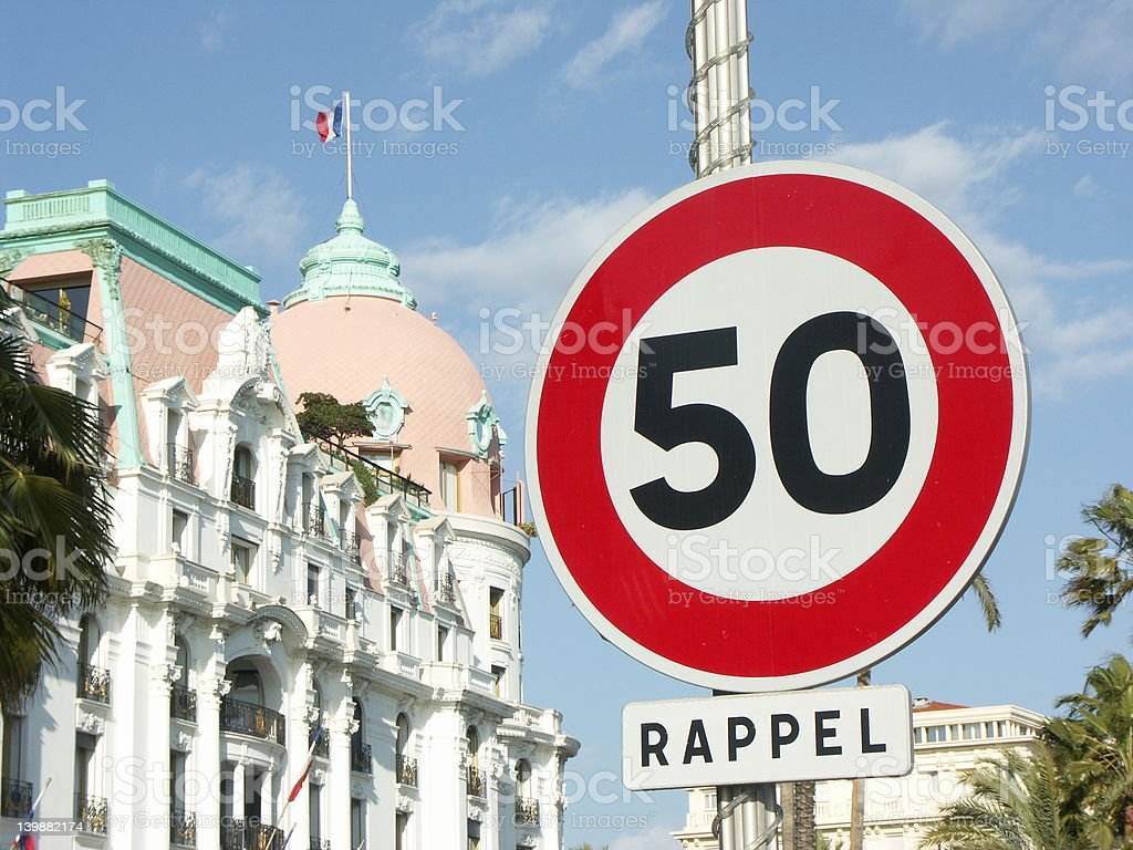 Speed limitation in Nice (French Riviera) stock photo