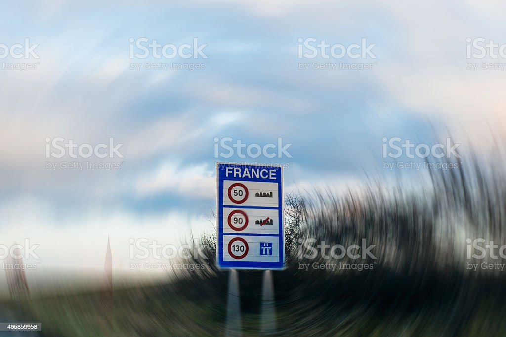 Speed limitations in France- entrance sign stock photo