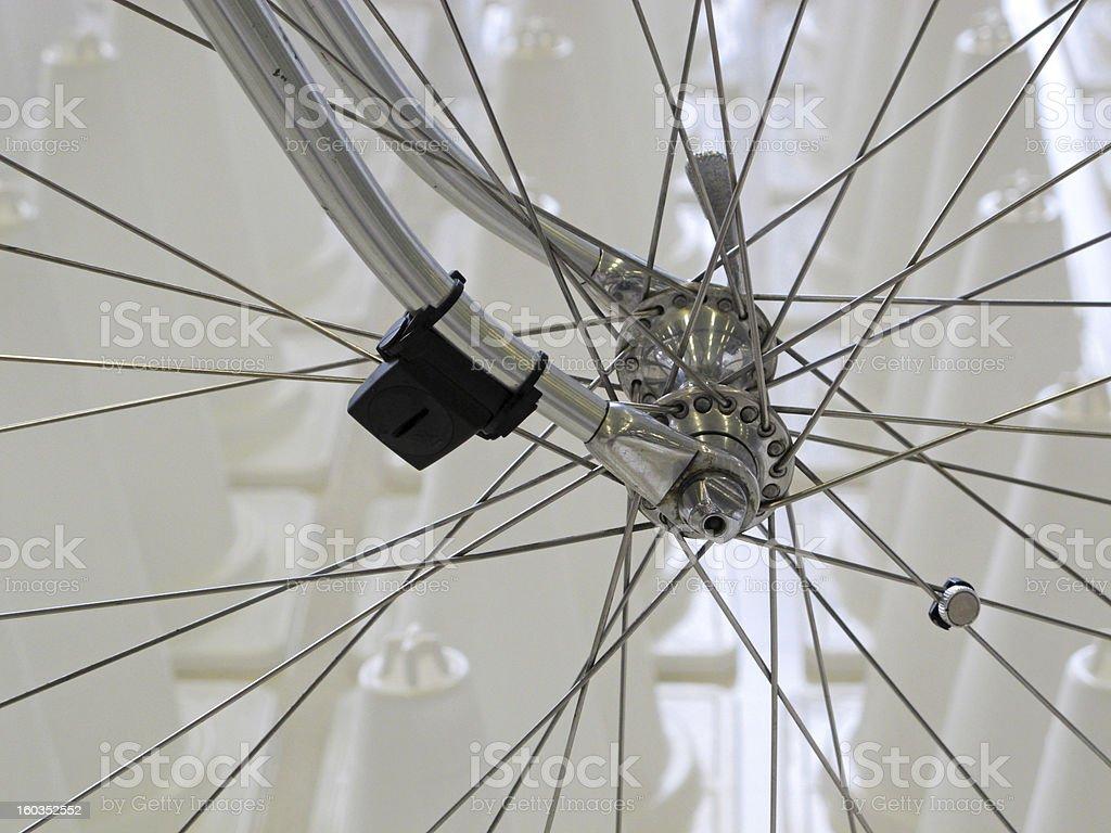 Speed meter, sensor on bicycle wheel. royalty-free stock photo