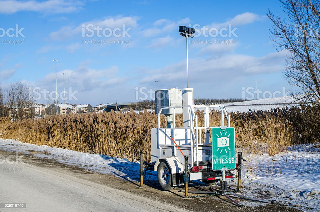 Speed mobile photo radar on the side of the road stock photo
