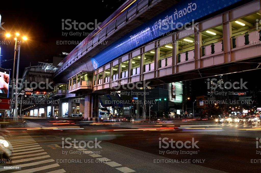 Speed motion at Asok road junction, Sukhumvit, Bangkok, Thailand stock photo