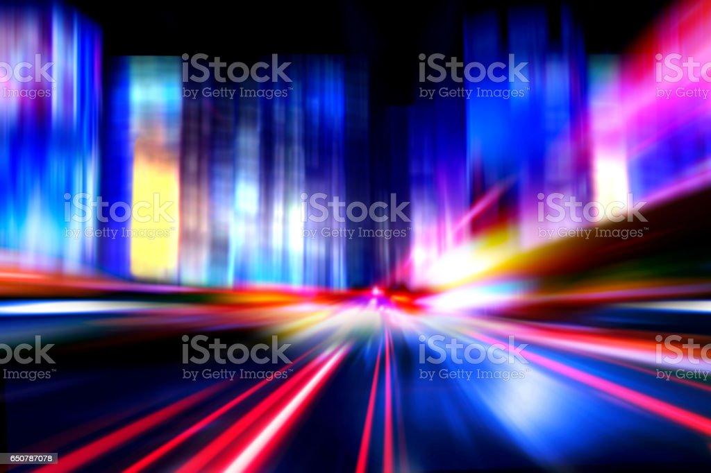 speed motion cars on night city street stock photo